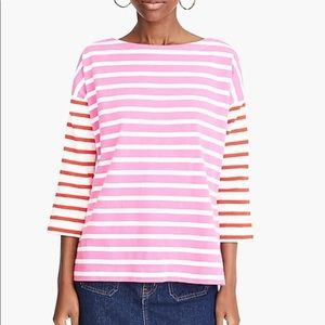 J Crew boatneck t shirt in mixed stripes